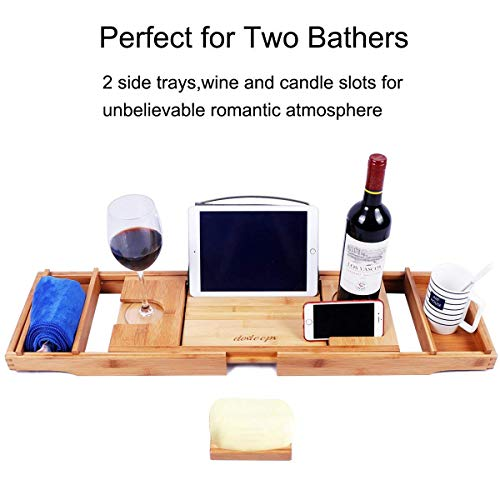 DOSLEEPS Wood Bathtub Caddy Bamboo Bathtub Tray, Adjustable Bath Tray with Extending Sides, Reading Rack, Tablet Holder, Cellphone Tray and Wine Glass Holder, Free Soap Holder