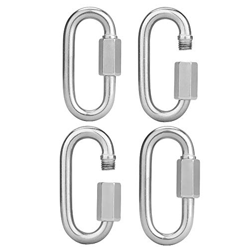 AOWISH 4-Pack Stainless Steel D Shape Locking Carabiner 5/16