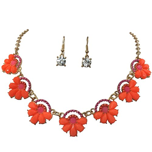 Cute Bright Orange And Pink Bib Scoop Gold Tone Boutique Necklace Earrings Set