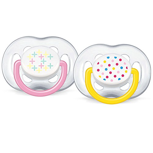 Philips Avent BPA Free Contemporary Freeflow Pacifier, Pink/Yellow, 6-18 Months, 2 Count