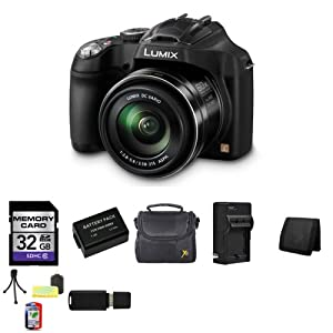 Panasonic Lumix DMC-FZ70 DMC-FZ70K DMCFZ70K Digital Camera + 32GB SDHC Class 10 Memory Card + Extra DMW-BMB9 Battery + Carrying Case + External Rapid Quick Charger For DMW-BMB9 + Memory Wallet + Table Top Tripod, Lens Cleaning Kit, LCD Protector + USB SDH