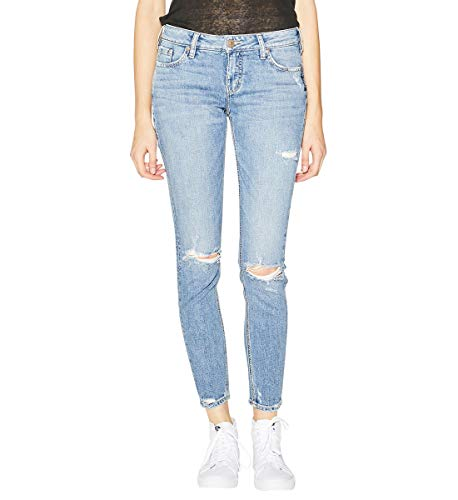 Silver Jeans Co. Women's Elyse Relaxed Fit Mid Rise Skinny Jeans, Light Vintage Destructed, 36W x 31L