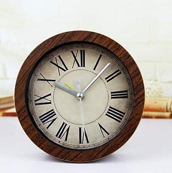 ZCLD Reloj de Alarma de Madera Sencillo Retro Retro Reloj de sobremesa Pastoral Creativo Reloj de