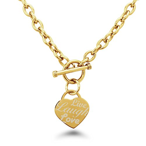 Gold Plated Stainless Steel Live Laugh Love Engraved Heart Tag Charm, Necklace (Gold Toggle Necklace)