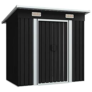 Tidyard 6x4 Metal Shed with Sliding Doors Anthracite