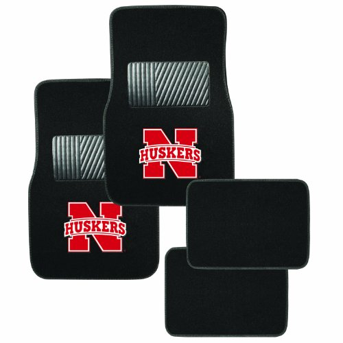Pilot Alumni Group FM-901N Universal Fit Four Piece Floor Mat Set (Collegiate Nebraska Cornhuskers)
