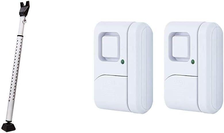 Master Lock 265D Door Security Bar, Pack of 1, White & GE Personal Security Window/Door Alarm, 2-Pack, DIY Home Protection, Burglar Alert, Wireless Alarm, Off/Chime/Alarm, Easy Installation