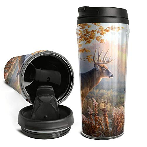 Thano Beautiful Elks in the Forest Tumbler Travel Mug Funny Insulated Tumbler with Lid Personalized Plastic Tumblers 16 Oz Clear Tumbler Double Wall Water Tumbler Cute Water Bottle