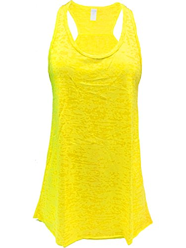 Burnout Animal - Flowy Burnout Racerback Tank (L, Yellow)