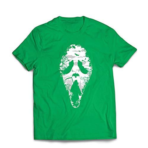 lepni.me Men's T-Shirt Tribal Grim Reaper Scream - Death Creepy Scary (Large Green Multi Color)