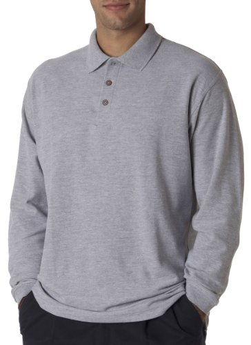 UltraClub Mens Adult Long-Sleeve Whisper Pique Polo (8542) -HEATHER GR (Easy Care Pique Polo)