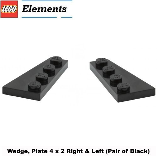 Lego-Parts-Wedge-Plate-4-x-2-Right-Left-Pair-of-Black