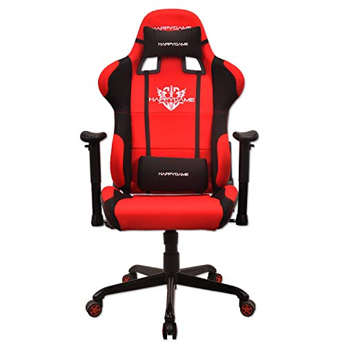 HAPPYGAME Fabric 350lbs Gaming Chair seat,2D Height Adjustable Armrest Computer Chair, Video Gaming Chair and Seat Height Adjustment Chair(Red) -