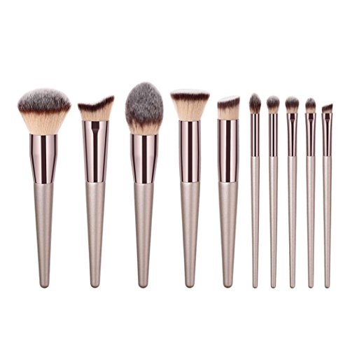 MM&I Makeup Brush Set 10Pcs Synthetic Wooden Foundation Cosmetics Eye Shadows Eyebrow Brown Blending Blush Eyeliner Face Powder Brush Makeup Brush Kit