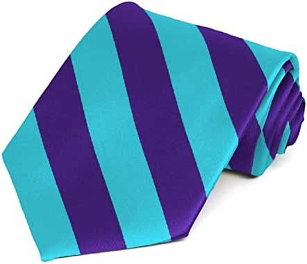 TieMart Men's Dark Purple and Turquoise Striped Tie 57/3.5