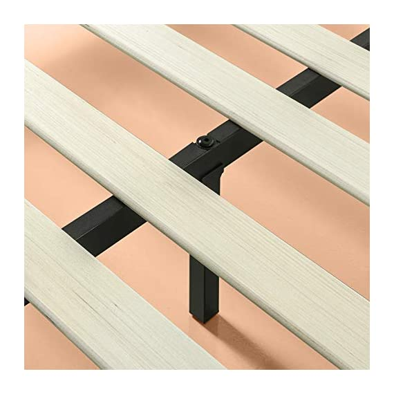 ZINUS GOOD DESIGN Award Winner Suzanne 6 Inch Metal and Wood Platforma Bed Frame / No Box Spring Needed / Wood Slat Suport, Brown, Queen - 6 inch high strong, low profile steel frame structure with wood slat support for mattress longevity Wood panel footboard detail Easily assembles in minutes - bedroom-furniture, bedroom, bed-frames - 41VQnHpMgbL. SS570  -