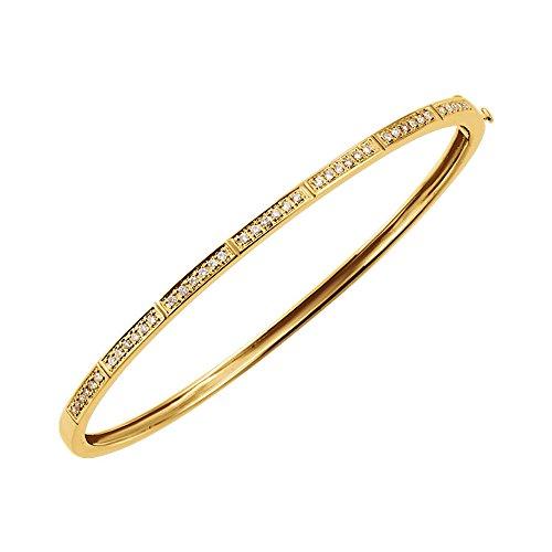 (14k Yellow Gold Diamond 3mm Hinged Bangle Bracelet (1/3 Cttw, H-I Color, I1)