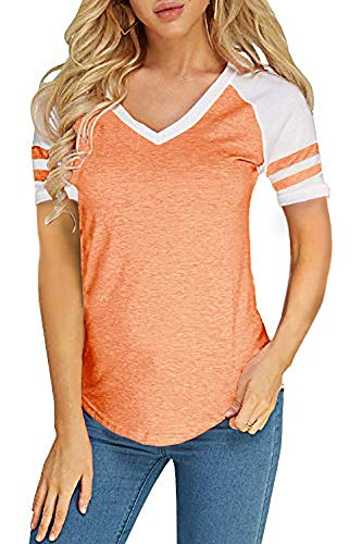 Foshow Womens Short Sleeve Raglan Baseball Tee Jersey Striped V Neck Blouses Tshirts (X-Large, A Orange)