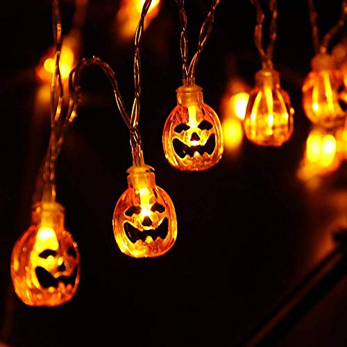 Lyhope Halloween String Lights, 9.51ft 20 LED Pumpkin Halloween Lights Battery Powered for Outdoor & Indoor Decoration, Not Include Battery (Orange)