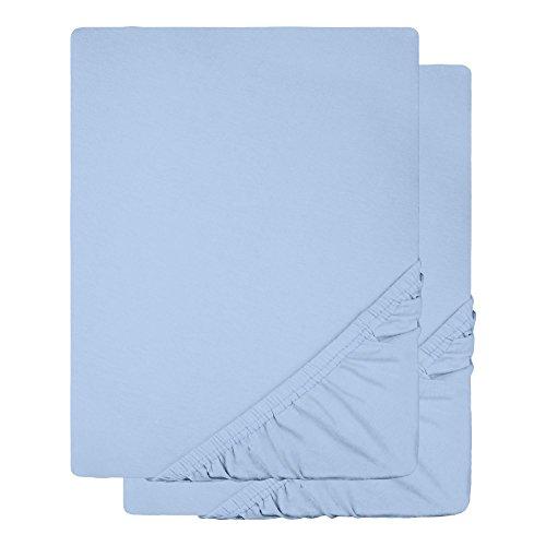 Baby-Spannbettlaken 2er-Set Jersey Baumwolle | viele Farben einzeln oder im Set | Spannbetttuch Doppelpack für Kindermatratzen | 60 x 120 bis 70 x 140 cm CelinaTex 0004505 Lucina Minis aqua-blau