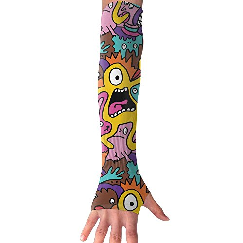 (XIKEWL Colour Monsters Funny Warmer Long Sleeves Glove Fashion Outdoor Travel Arm For Riding Hiking Running Golf Fishing 1 Pair)
