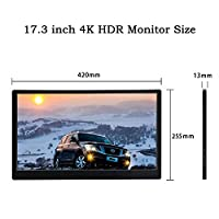 17.3 Inch IPS Type C 4K Portable Screen for PS4 Pro Xbox 3840 2160 60Hz HDMI 2.0 HDR Monitor for PC Laptop Second Display VESA
