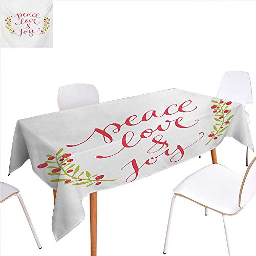 familytaste Quote Dinning Tabletop Decoration Peace Love and Joy Calligraphic Xmas Text with Winter Berries Wreath Table Cover for Kitchen 54