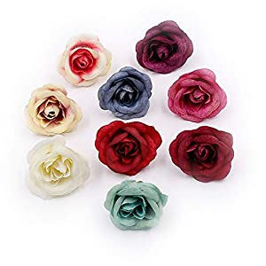 Artificial Flowers Fake Flower Head Silk Rose Wedding Home Furnishings DIY Party Festival Home Decor Wreath Sheets Handicrafts Simulation Cheap Fake Flowers 30pcs 4cm (Colorful) 19