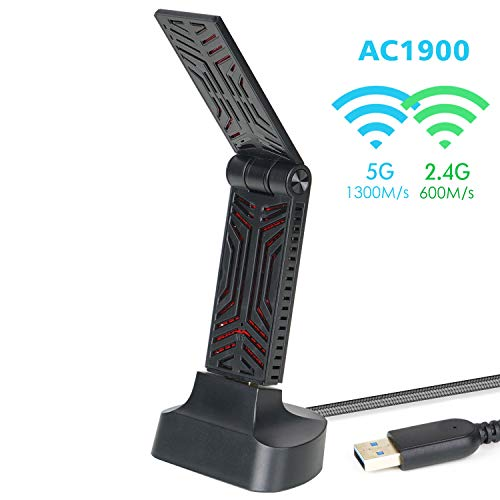 USB WiFi Adapter 1900Mbps Dual Band USB 3.0 WiFi Dongle,Wireless Network Adapter with High Gain Antenna for Windows, Mac OS X,Cradle Included