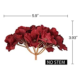 Luyue Silk Hydrangea Heads Artificial Decoration Flowers Garden Floral Decor,Pack of 10 (Wine Red) 3
