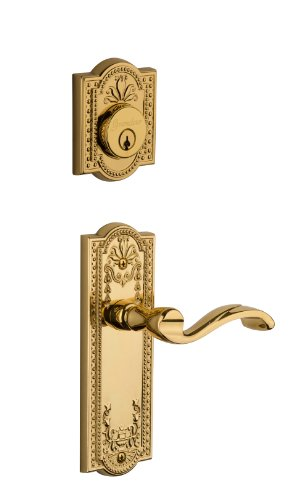 Brass Parthenon Single Cylinder - Grandeur Parthenon Plate with Portofino Lever and Matching Deadbolt Complete Single Cylinder Combo Pack Set, Lifetime Brass