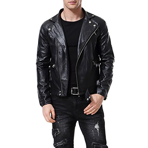 Leather Belted Motorcycle Jacket - 7