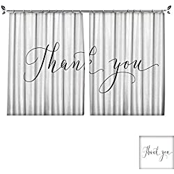 "Waterproof Window Curtain Thank you words hand written custom calligraphy isolated on white Great for cards wedding invitations social media banners headers photo overlays W55"" x L45"""