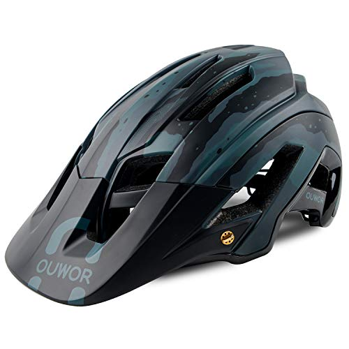 OUWOR Road & Mountain Bike/MTB Helmet with Removable Visor and Adjustable Dial, CPSC Certified (Camouflage - Helmet Mtb Cycling Bike
