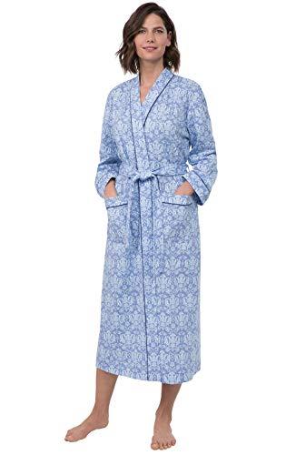 PajamaGram Printed Knit Bathrobe Womens - Womens Long Robes, Blue, M/L, 8-14