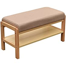 Laputa Upholstered Shoe Bench With Storage, Lightweight and Compact, Great For Entryway or Closet, Natural Wood Shoe Bench Ottoman With Padded Seat For Comfortable Seating(Beech color)