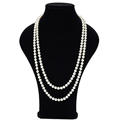 "Cheap Tagoo Simulated Pearl Chunky Collar Necklace 17.5"" 18"" 55"" Single Double Triple Multi Strands for Womens&Girls&Bride"