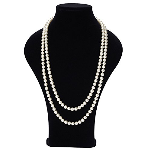 TAGOO Simulated Pearl Chunky Collar Necklace 17.5