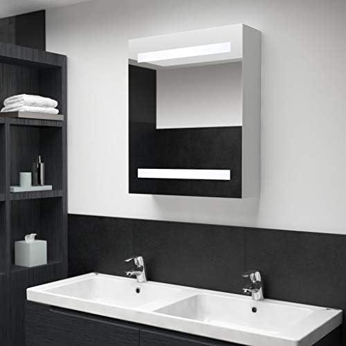 vidaXL LED Bathroom Mirror Inside Shelves Wall Light Vanity Mirror Wall Cabinet Bathroom Mirror Wall Mounted with Light Medicine Cabinet 50x14x60cm