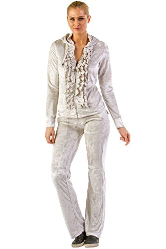 Vertigo Paris Women's Ruffle Velour Lounge Tracksuit Jog Set - Cloudburst - - Tracksuit Womens Cool