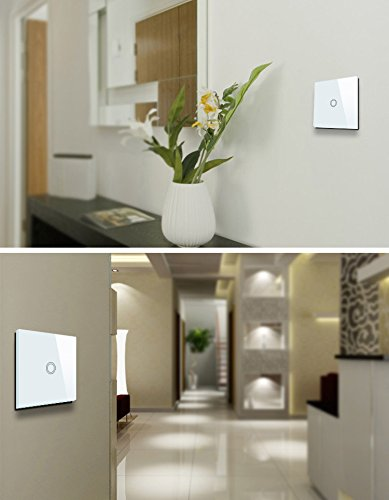 US Standard 1 Gang 1 Way White Wall Light Touch Switch With LED Indicator AC 110-220V (White) by Makegood (Image #8)