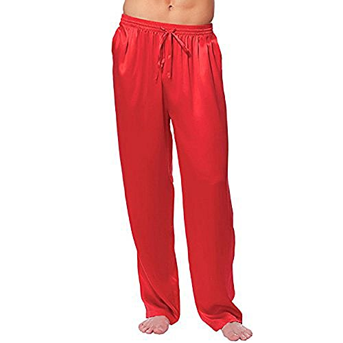 Magic Silk Silk Charmeuse Lounge Pant, Red, (M).
