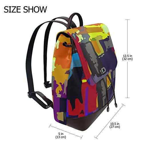 Kvinnor PU-läder abstrakt vibrerande färg ryggsäck handväska resa skola axelväska ledig dagväska