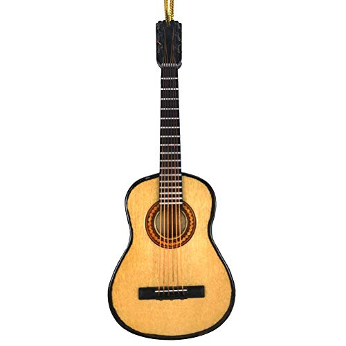 Alano Wooden Maple Mini Ornaments Guitar Musical Instrument Miniature Holiday Dollhouse Model Home Decoration (13cm Guitar+Holder)