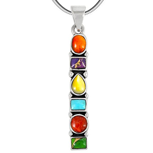 Turquoise & Gemstones Pendant Necklace in Sterling Silver 925 (SELECT Style) (Geometric Dangle C71) - Sterling Silver Multi Gem Pendant