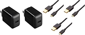 Amazon Basics One-Port 12W USB Wall Charger for Phone, iPad, and Tablet, 2.4 Amp, Black (2-Pack) & USB 2.0 A-Male to Micro B Charger Cable (3 Pack), 3 feet, Black