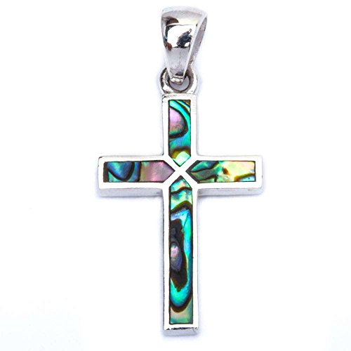 Simulated Abalone Shell Cross .925 Sterling Silver Pendant 1.25'