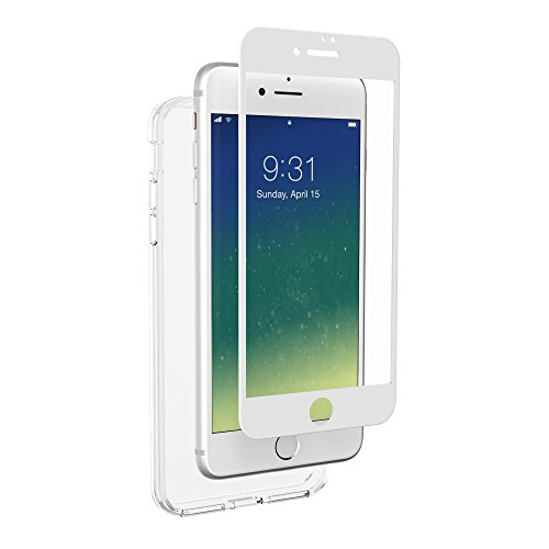 Altigo Triumph Tempered Glass Screen Protector and Case for iPhone 8 Plus and iPhone 7 Plus: White Glass Front, Shockproof, Anti-Scratch, 360 Degree Protection