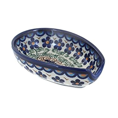 Polish Pottery Aztec Flower Spoon Rest