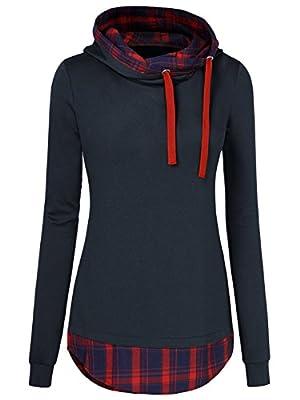WAJAT Women's Plaid Checkered Slim Fit Hoodie Tops Sweatshirts